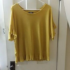 Express mustard yellow ruffle sleeve top
